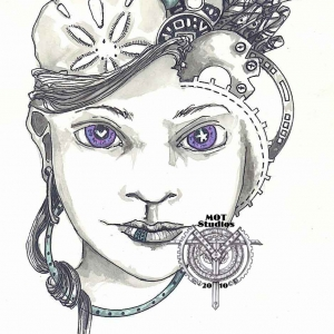 Steampunk head of woman